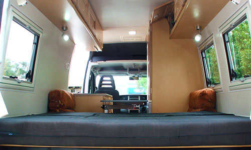 Interior of a converted motorhome